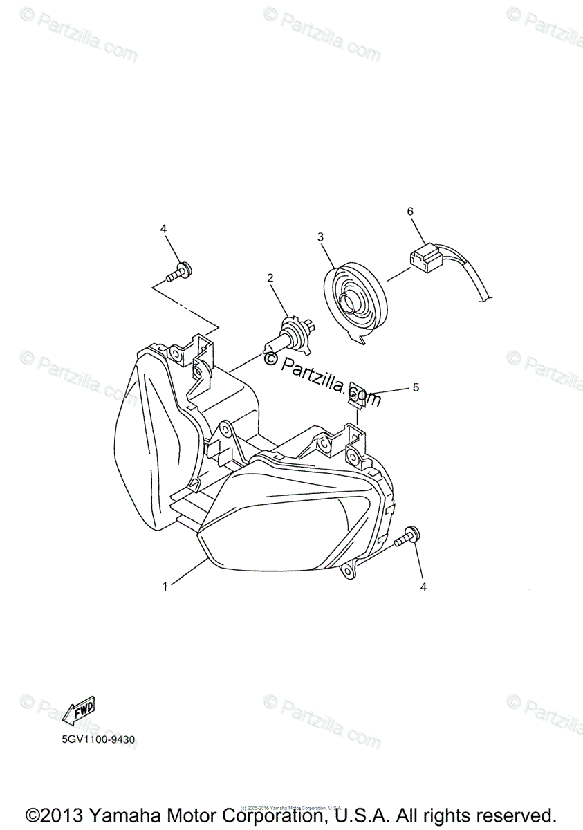 Yamaha Motorcycle 2000 OEM Parts Diagram for Headlight