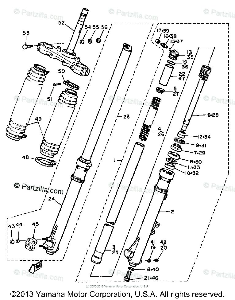 Yamaha Motorcycle 1984 OEM Parts Diagram for Front Fork