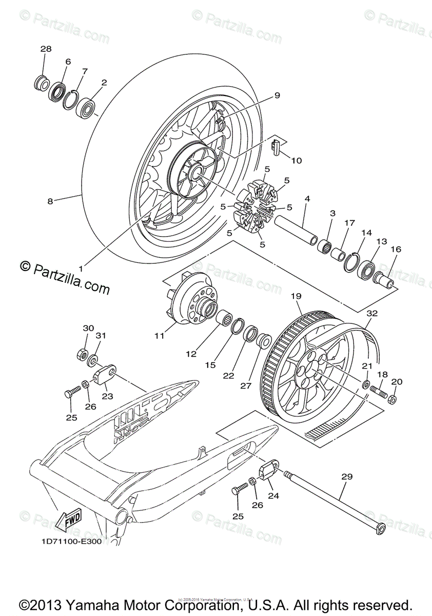 Yamaha Motorcycle 2012 OEM Parts Diagram for Rear Wheel