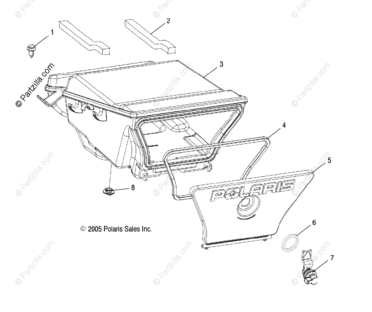 Polaris ATV 2006 OEM Parts Diagram for Storage Box, Rear