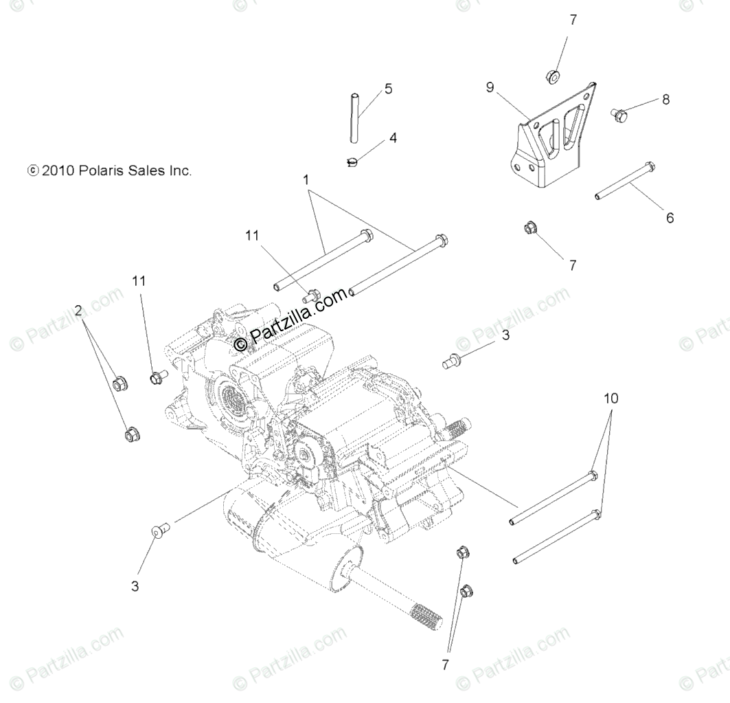 Polaris ATV 2012 OEM Parts Diagram for Drive Train, Main