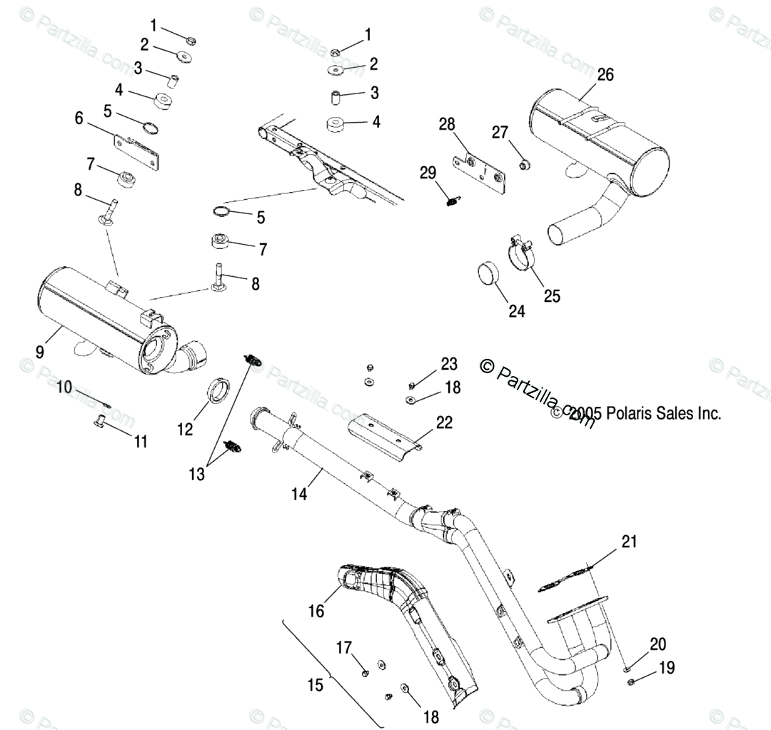 Polaris ATV 2005 OEM Parts Diagram for Exhaust System