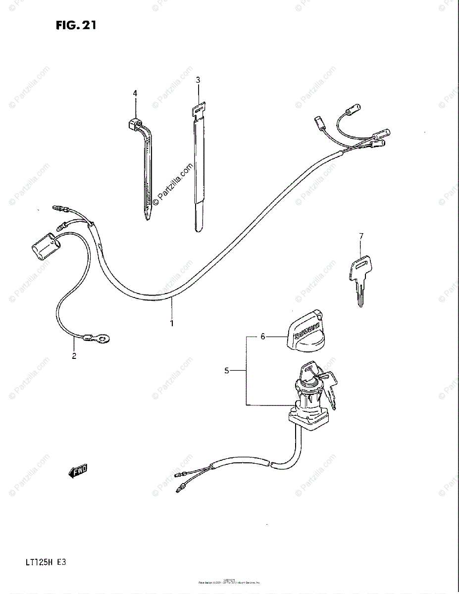 Suzuki ATV 1985 OEM Parts Diagram for Wiring Harness