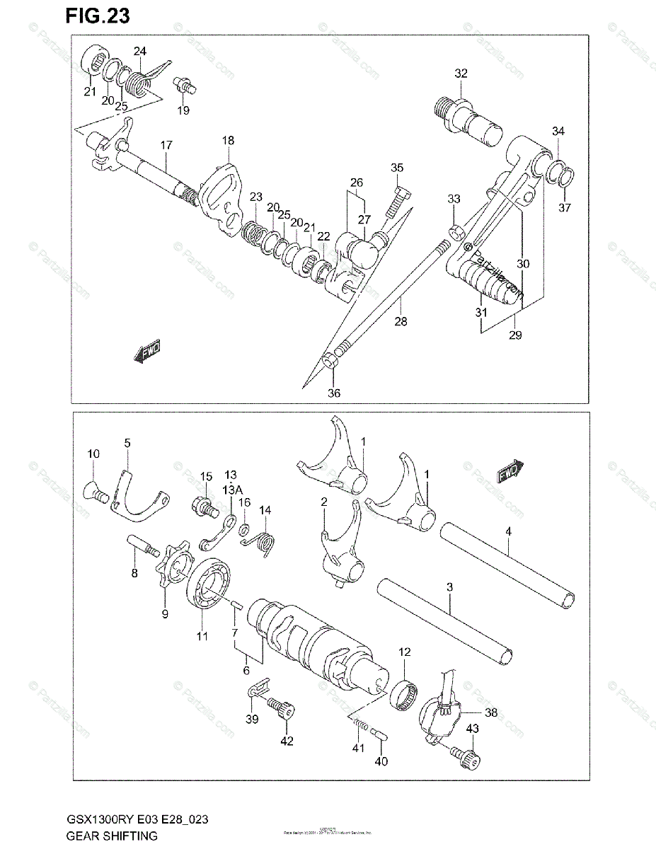 Suzuki Motorcycle 2002 OEM Parts Diagram for Gear Shifting