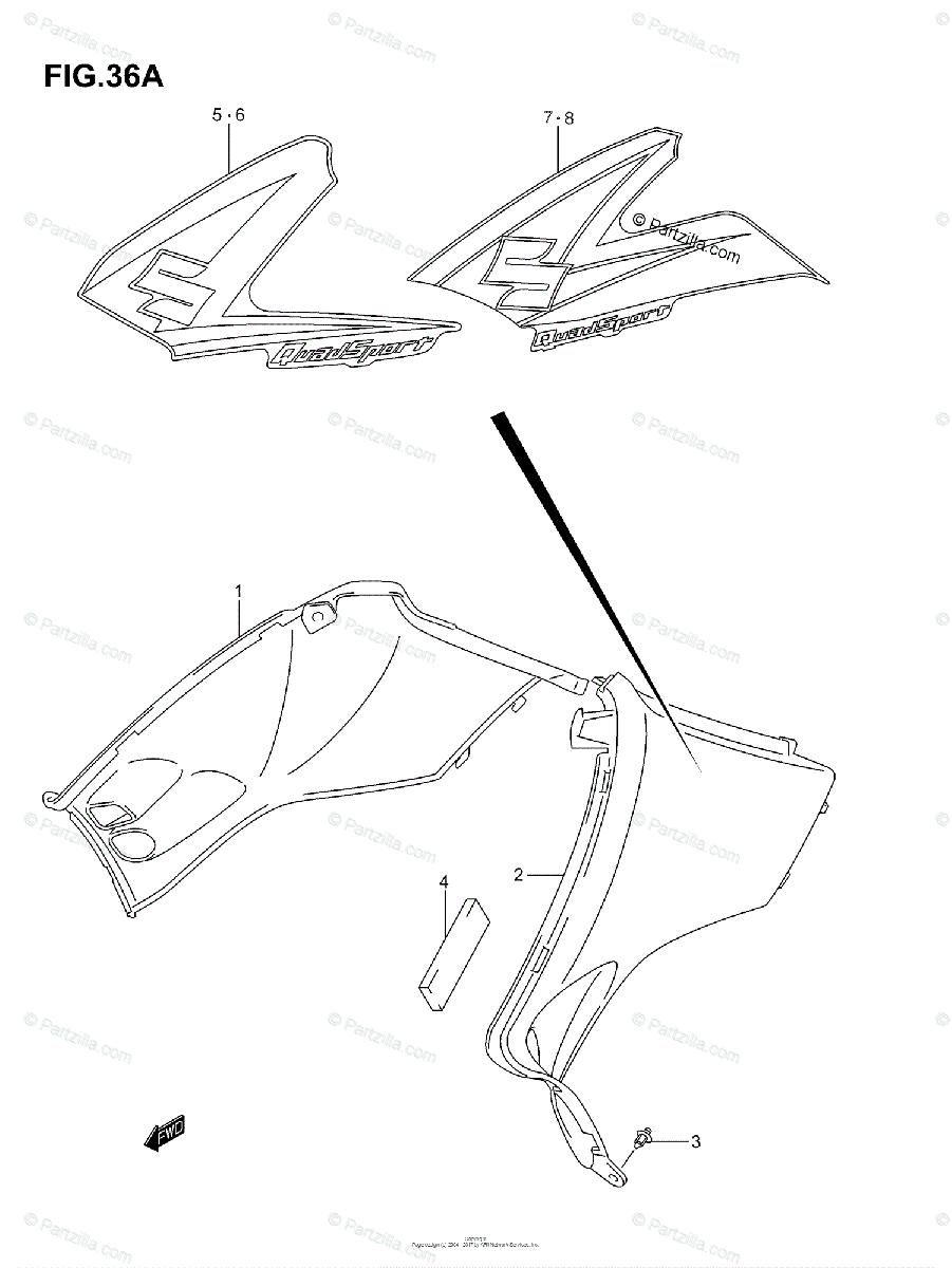 Suzuki ATV 2005 OEM Parts Diagram for SIDE COVER (MODEL K5