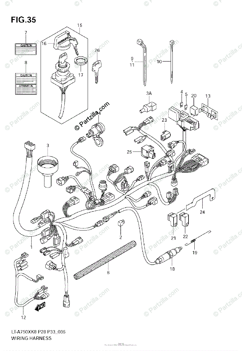 Suzuki ATV 2008 OEM Parts Diagram for Wiring Harness