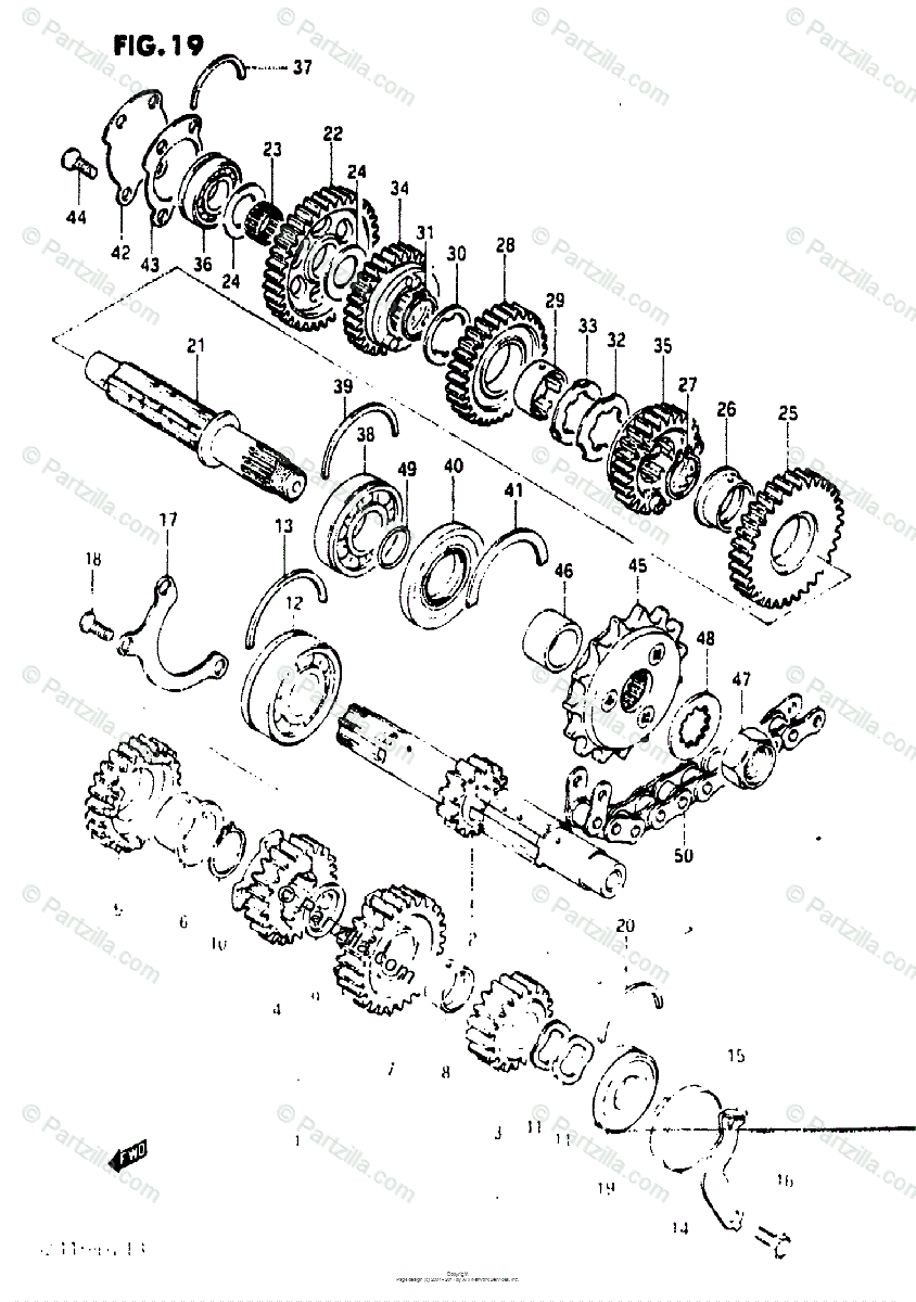 Suzuki Motorcycle 1984 OEM Parts Diagram for Transmission
