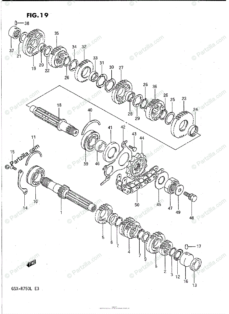 Suzuki Motorcycle 1990 OEM Parts Diagram for Transmission