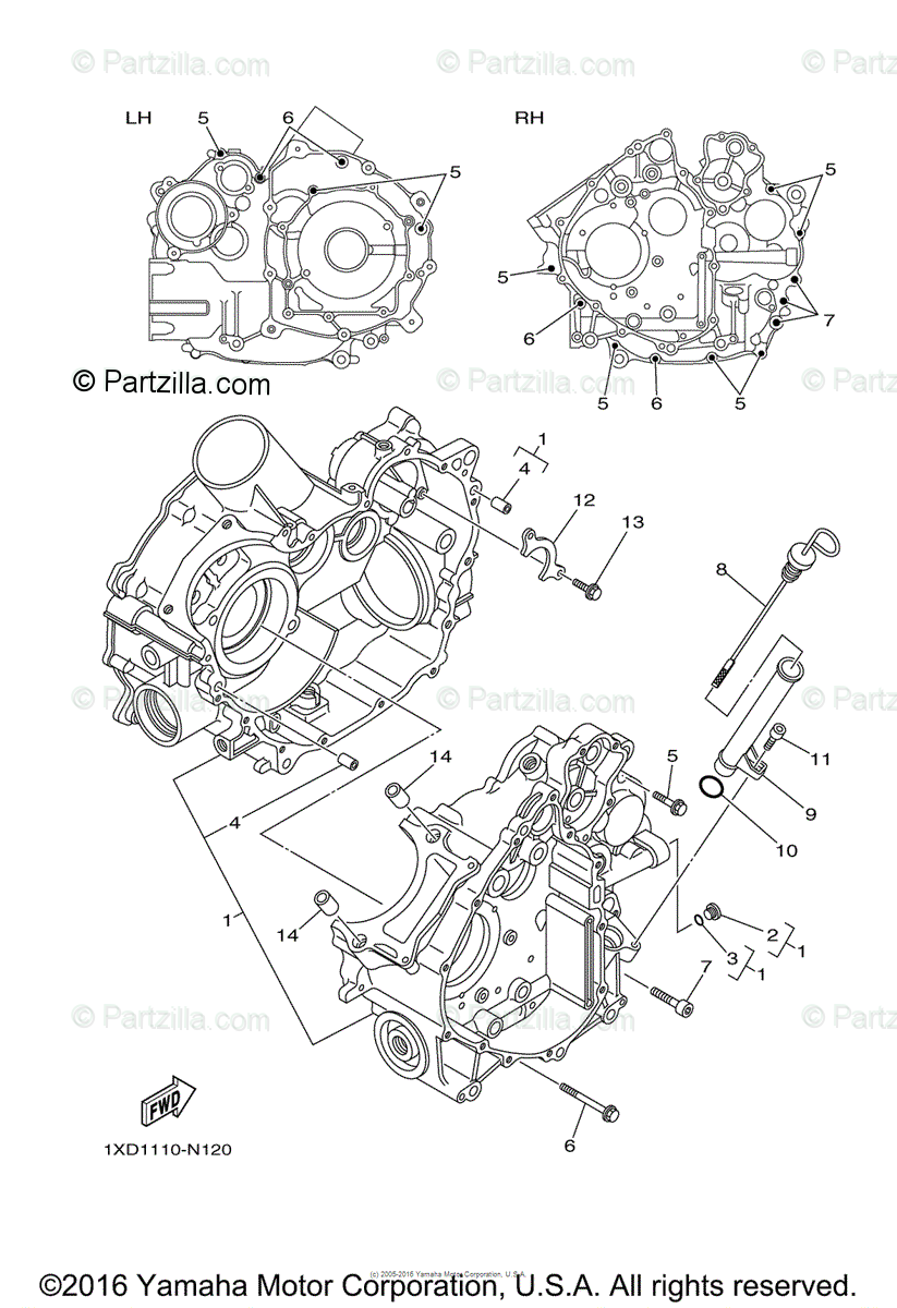Yamaha Side by Side 2014 OEM Parts Diagram for Crankcase