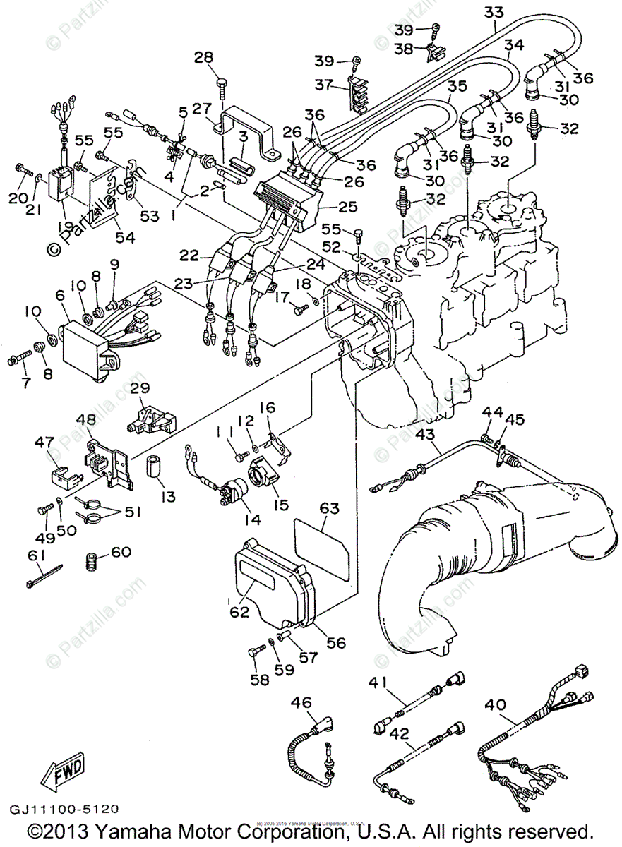 Yamaha Waverunner 1995 OEM Parts Diagram for Electrical