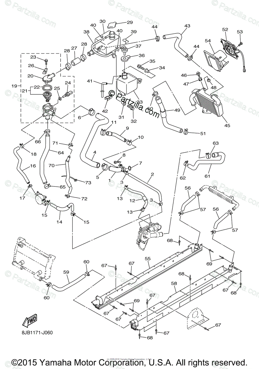 Yamaha Snowmobile 2010 OEM Parts Diagram for RADIATOR HOSE