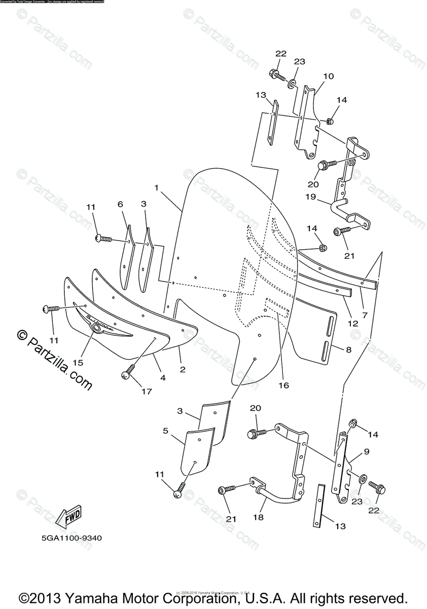 Yamaha Motorcycle 2004 OEM Parts Diagram for Cowling 1