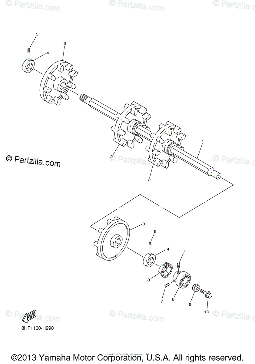 Yamaha Snowmobile 2009 OEM Parts Diagram for Track Drive 1