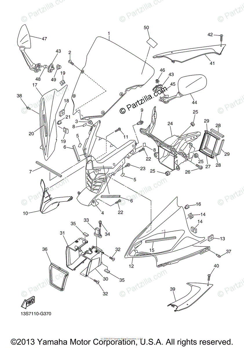 Yamaha Motorcycle 2009 OEM Parts Diagram for Cowling 1