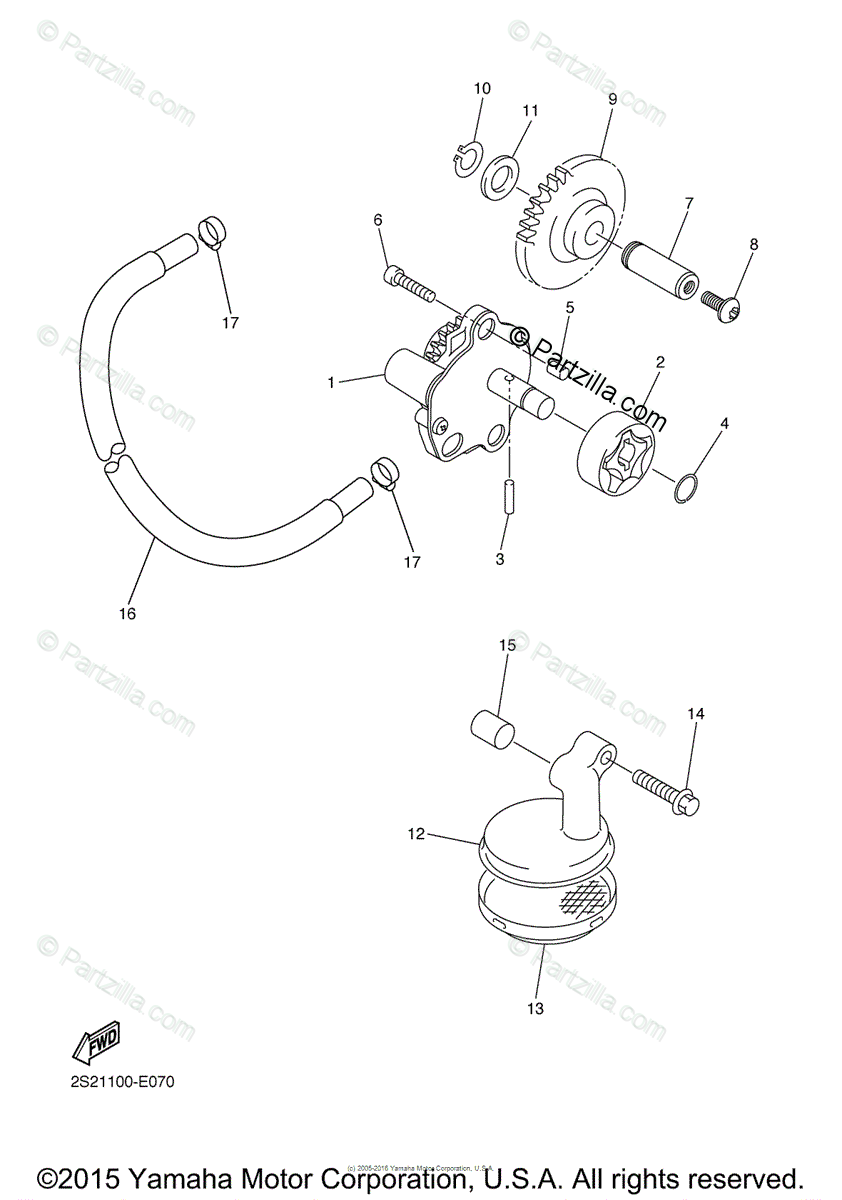 Yamaha Motorcycle 2006 OEM Parts Diagram for Oil Pump