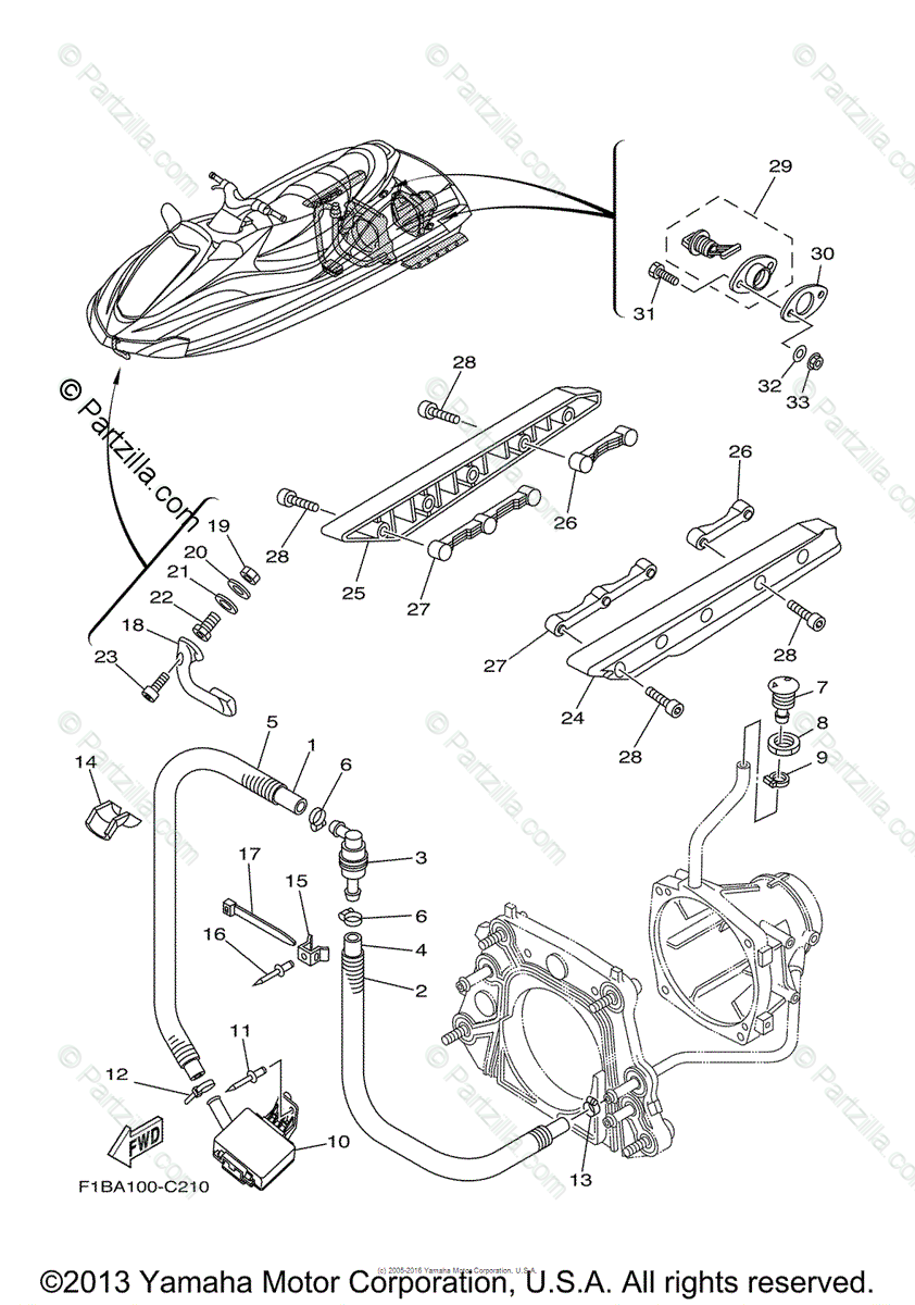 Yamaha Waverunner 2004 OEM Parts Diagram for Hull Deck