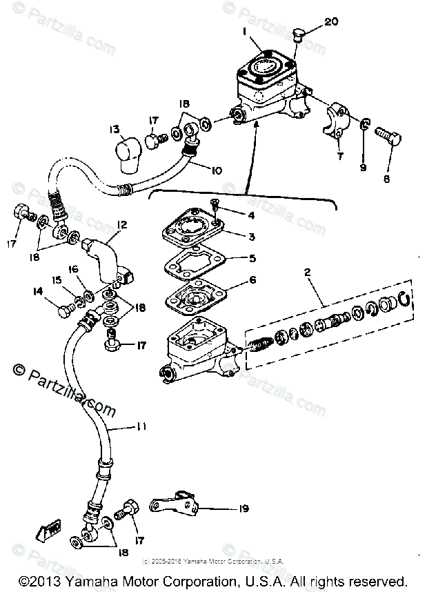 Yamaha Motorcycle 1980 OEM Parts Diagram for FRONT MASTER