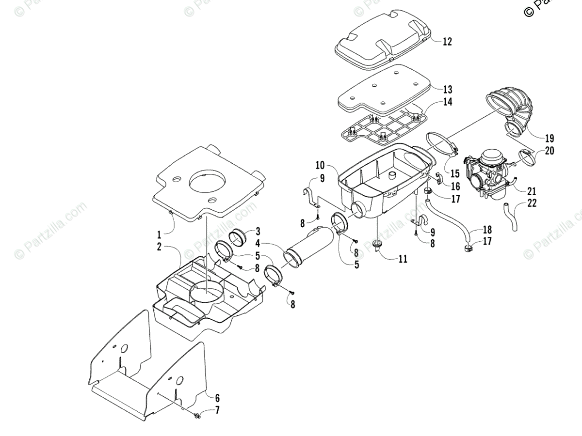 Arctic Cat ATV 2007 OEM Parts Diagram for Air Intake