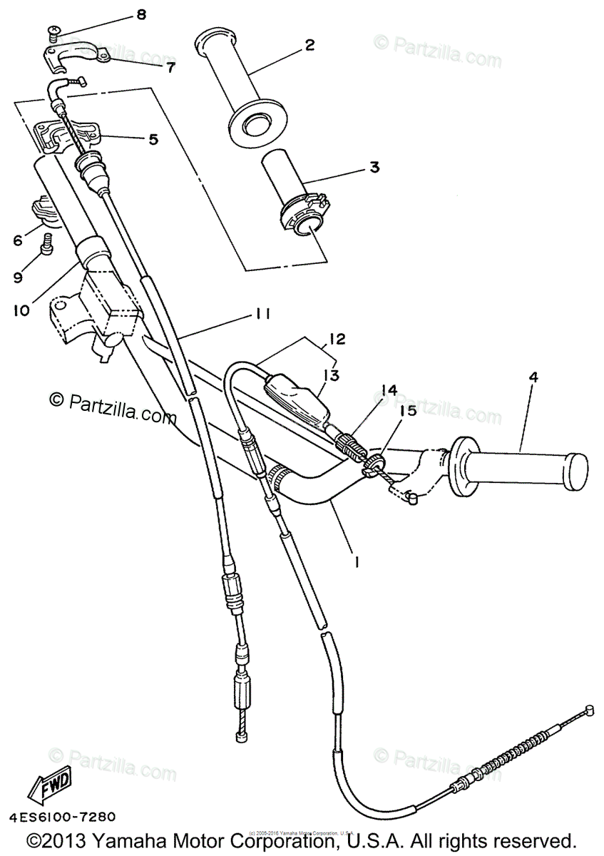 Yamaha Motorcycle 1999 OEM Parts Diagram for Steering