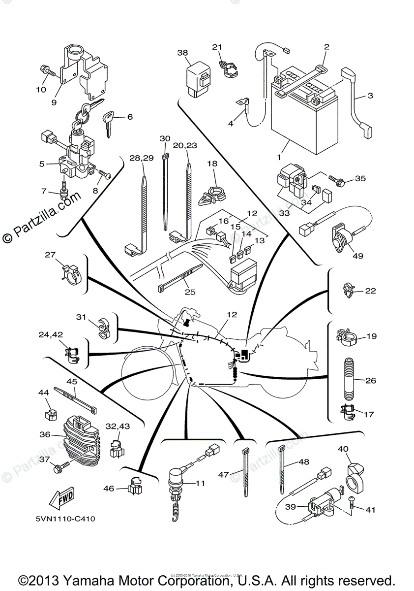 Yamaha Motorcycle 2004 OEM Parts Diagram for Electrical