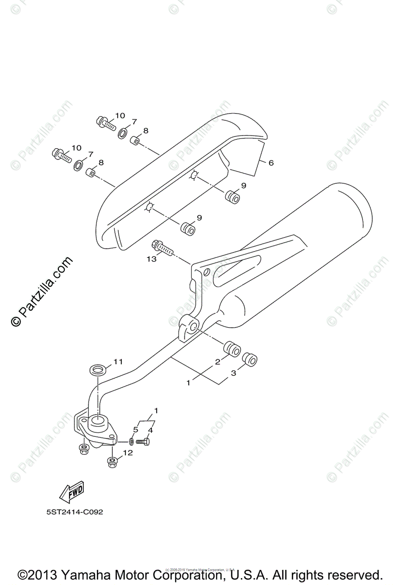 Yamaha Scooter 2006 OEM Parts Diagram for Exhaust