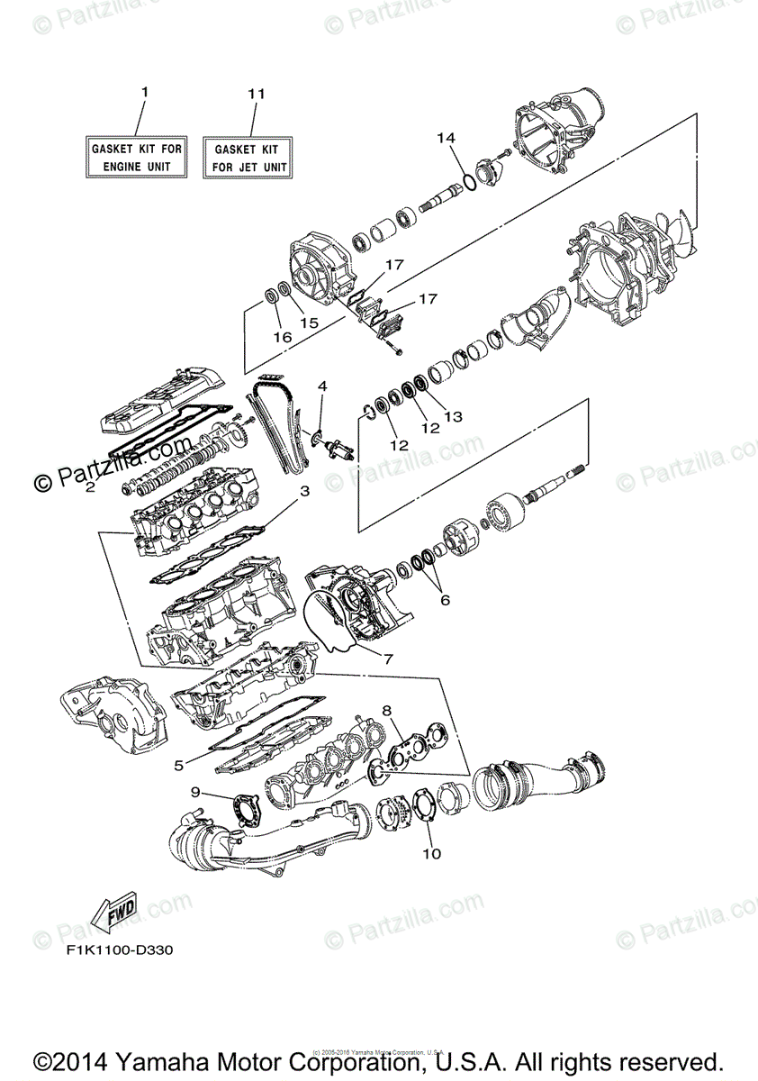 Yamaha Waverunner 2008 OEM Parts Diagram for Repair Kit 1