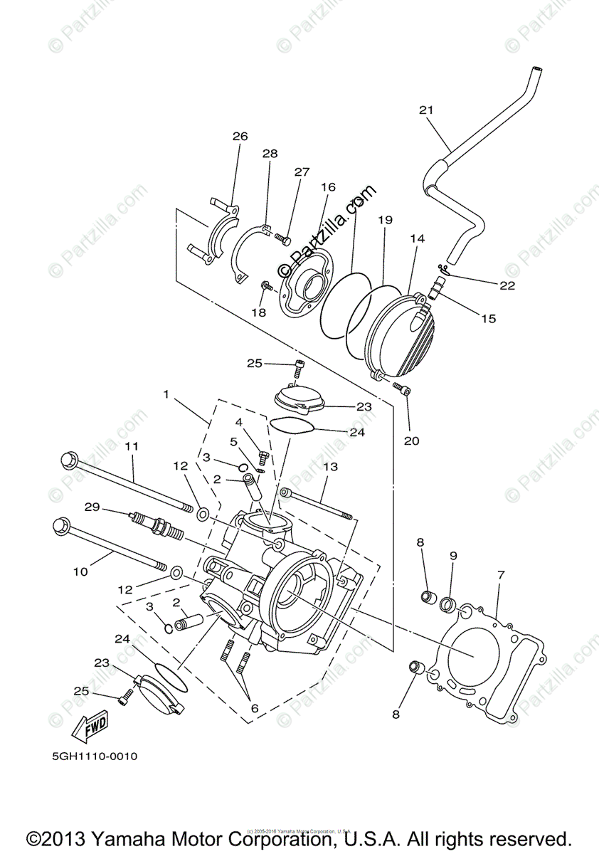 Yamaha ATV 2000 OEM Parts Diagram for Cylinder Head