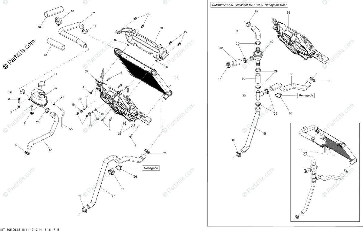 Can-Am ATV 2015 OEM Parts Diagram for Cooling System