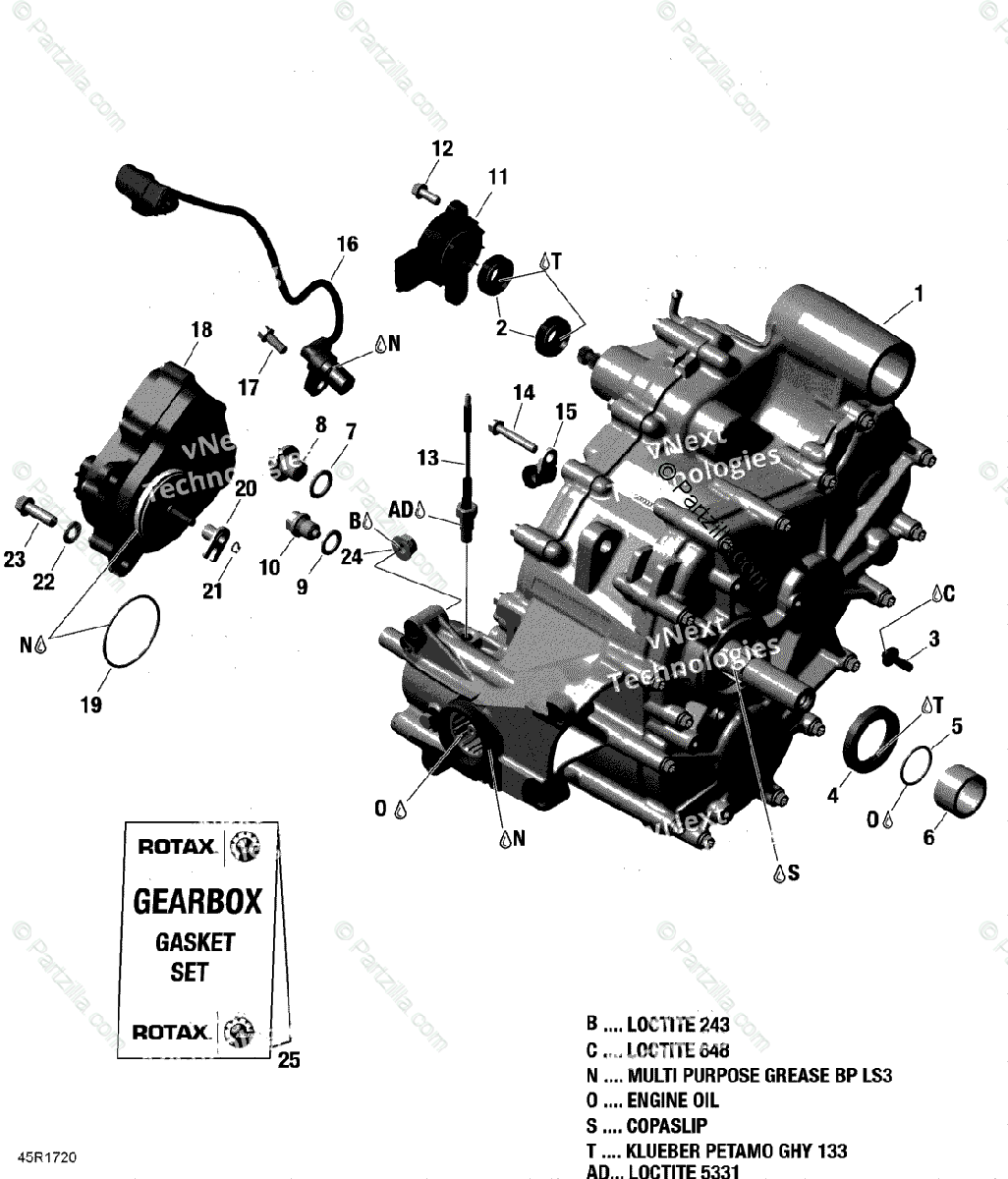 Can-Am ATV 2017 OEM Parts Diagram for Gear Box Assy