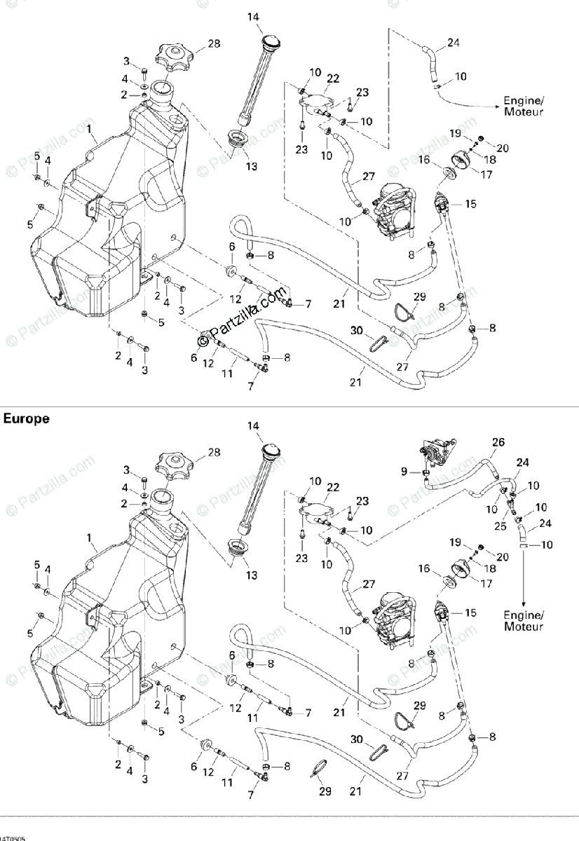 Can-Am ATV 2005 OEM Parts Diagram for Fuel System