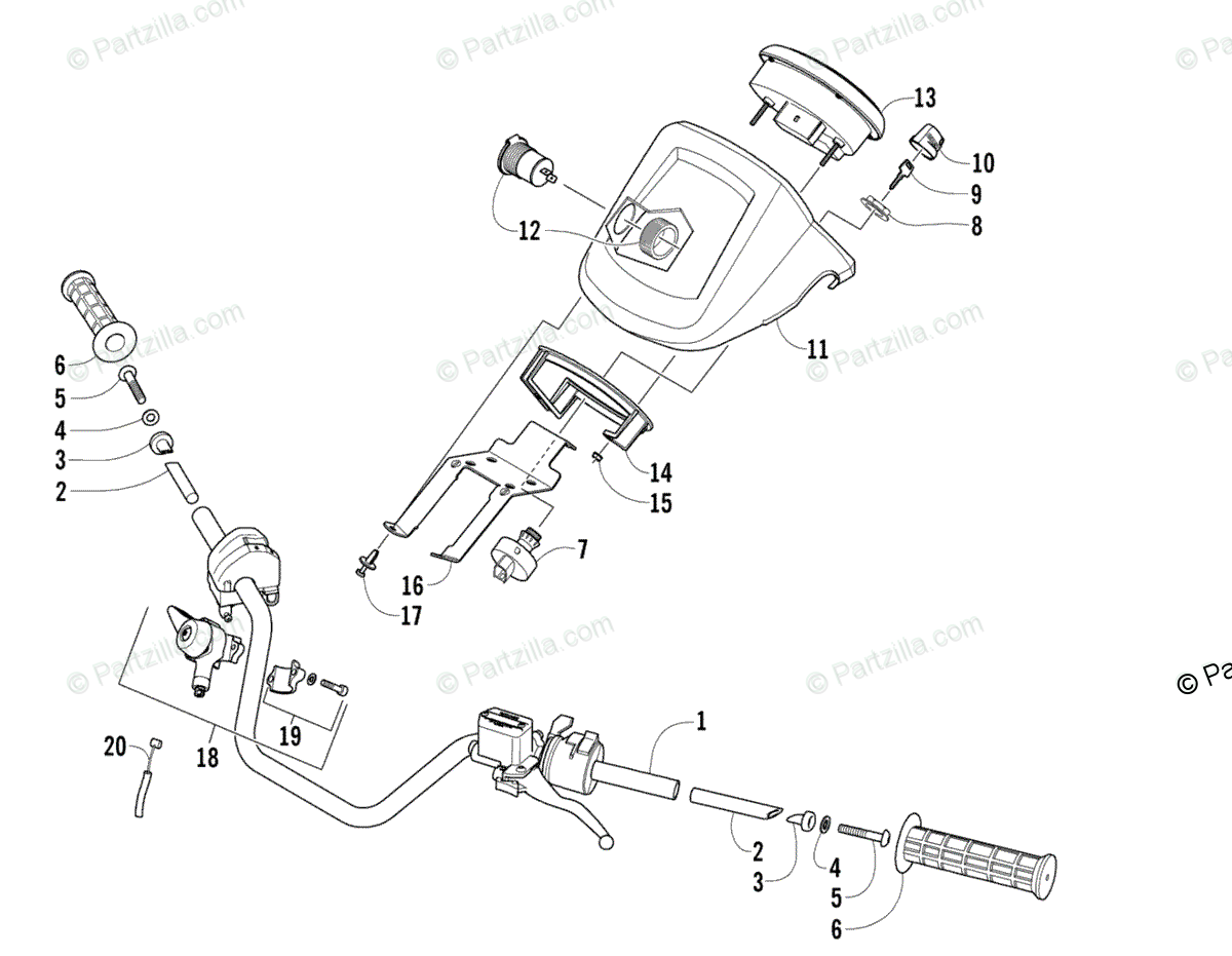 Arctic Cat ATV 2008 OEM Parts Diagram for Handlebar