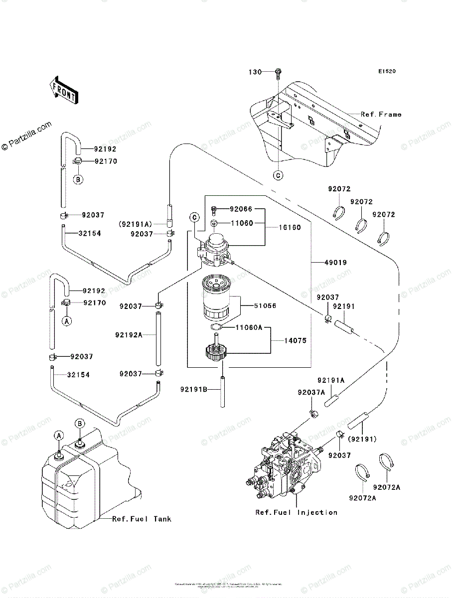 Kawasaki Side by Side 2010 OEM Parts Diagram for FUEL PUMP
