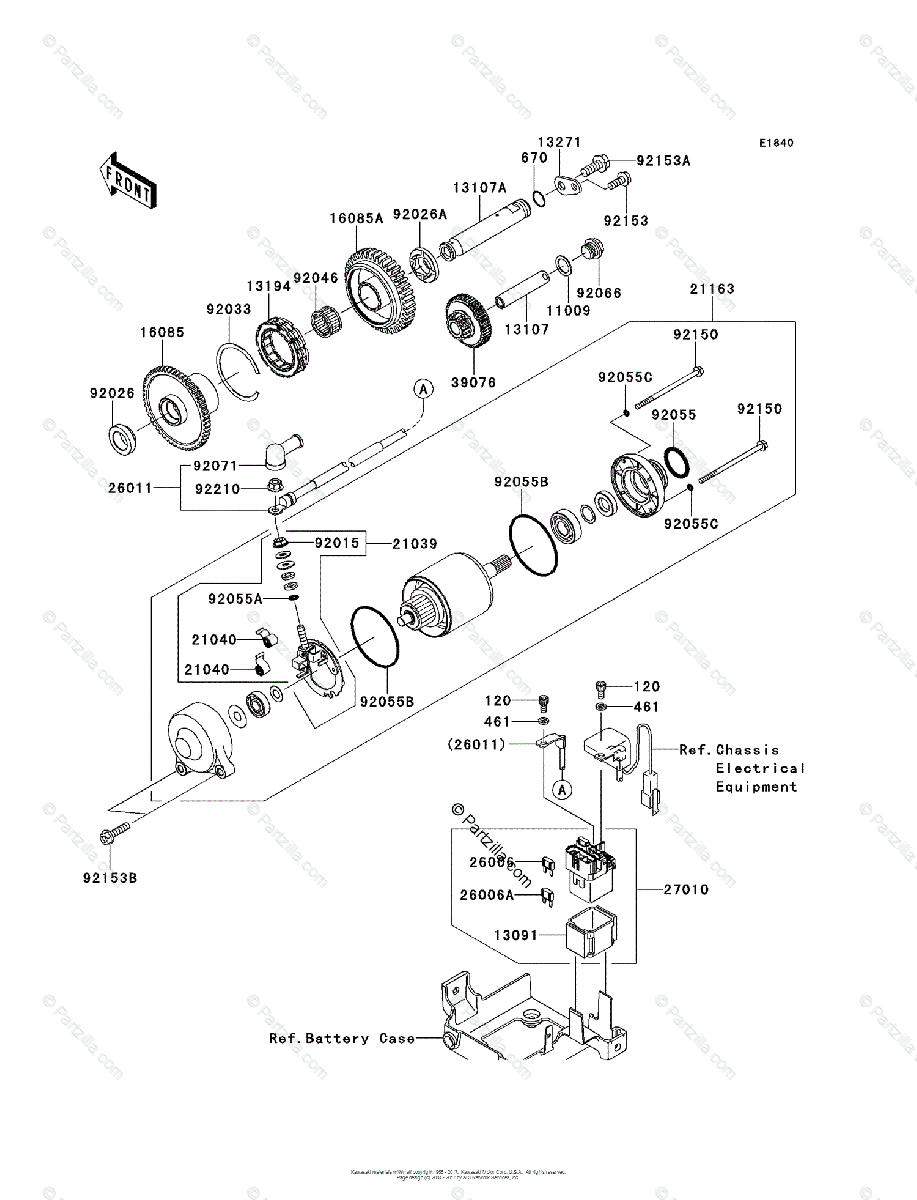Kawasaki Motorcycle 2013 OEM Parts Diagram for Starter