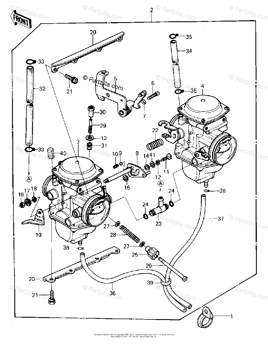 Kawasaki Motorcycle 1981 OEM Parts Diagram for CARBURETOR