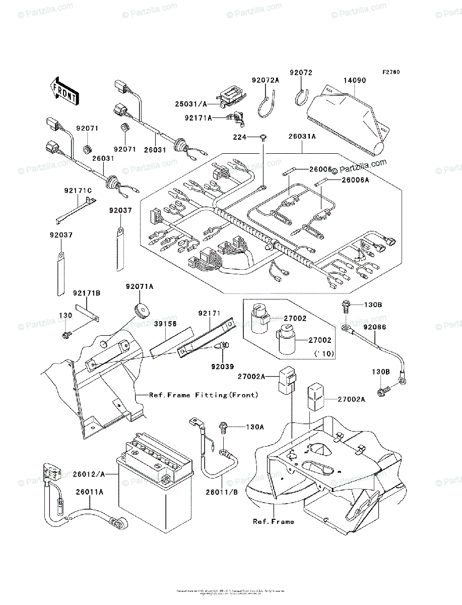 Kawasaki Side by Side 2010 OEM Parts Diagram for Chassis