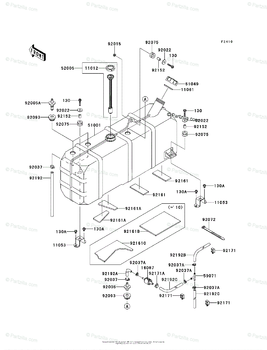 Kawasaki Side by Side 2009 OEM Parts Diagram for Fuel Tank