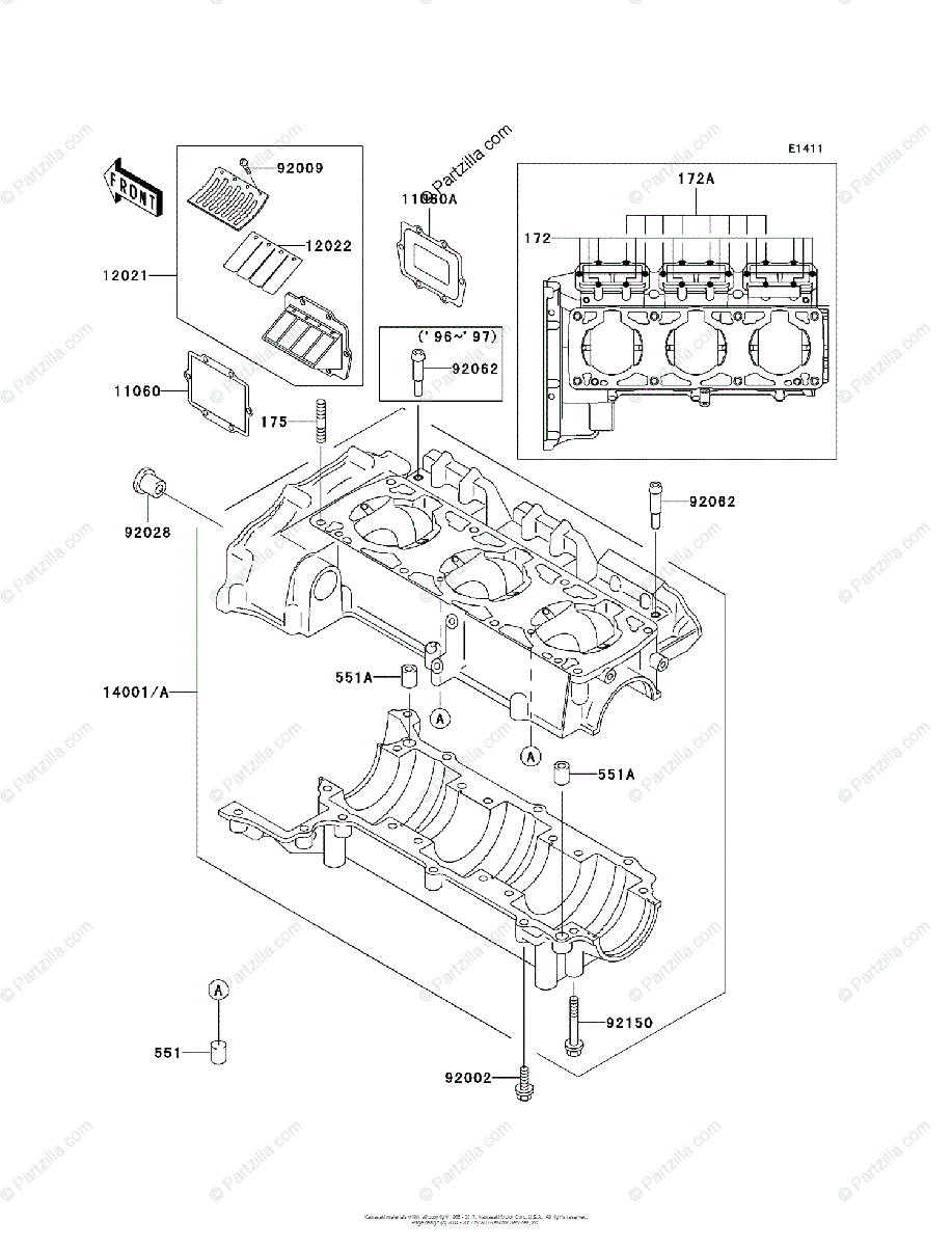 Kawasaki Jet Ski 1998 OEM Parts Diagram for Crankcase