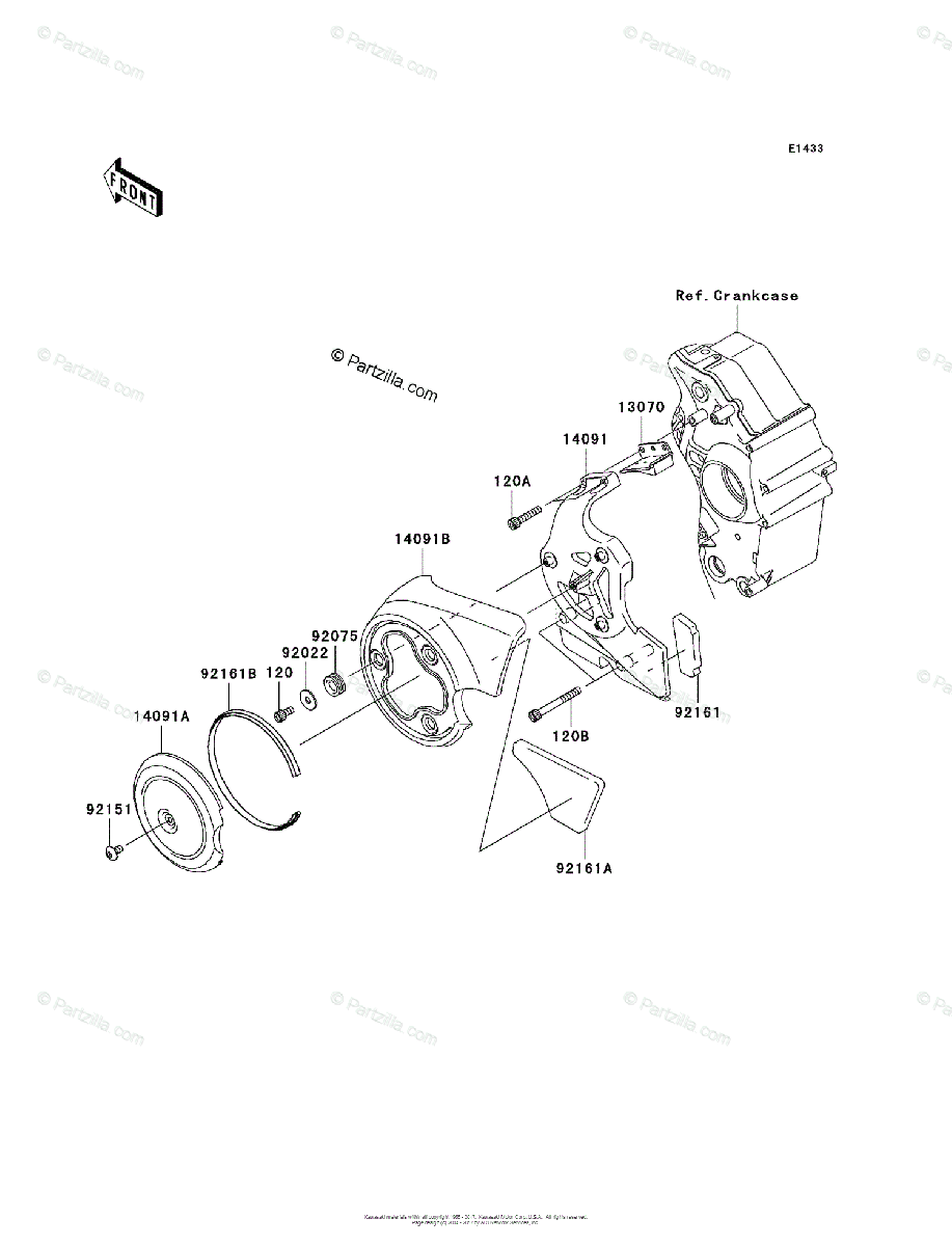 Kawasaki Motorcycle 2004 OEM Parts Diagram for Chain Cover