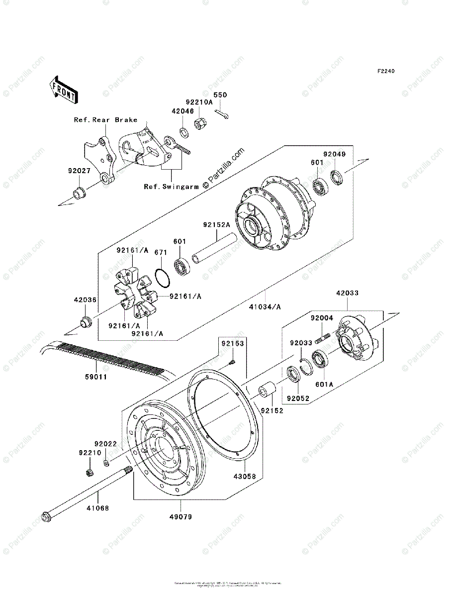 Kawasaki Motorcycle 2006 OEM Parts Diagram for Rear Wheel