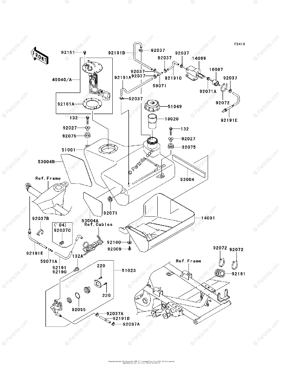 Kawasaki ATV 2004 OEM Parts Diagram for Fuel Tank