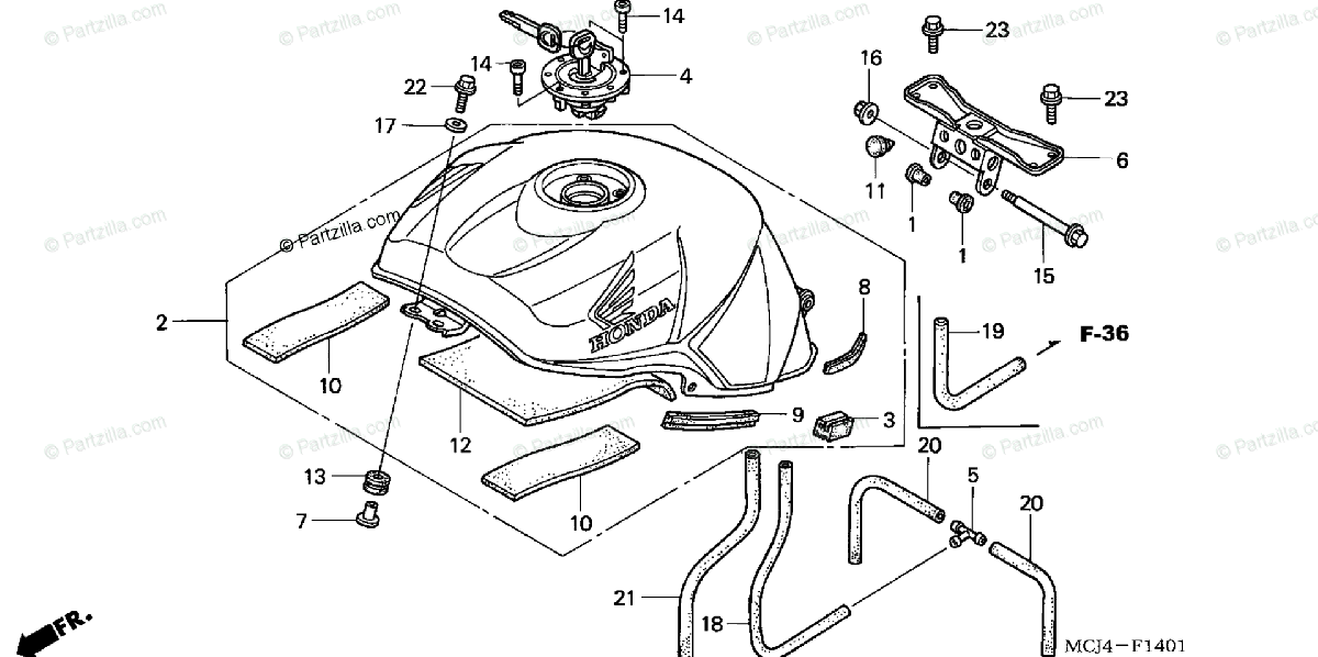 Honda Motorcycle 2002 OEM Parts Diagram for Fuel Tank (2