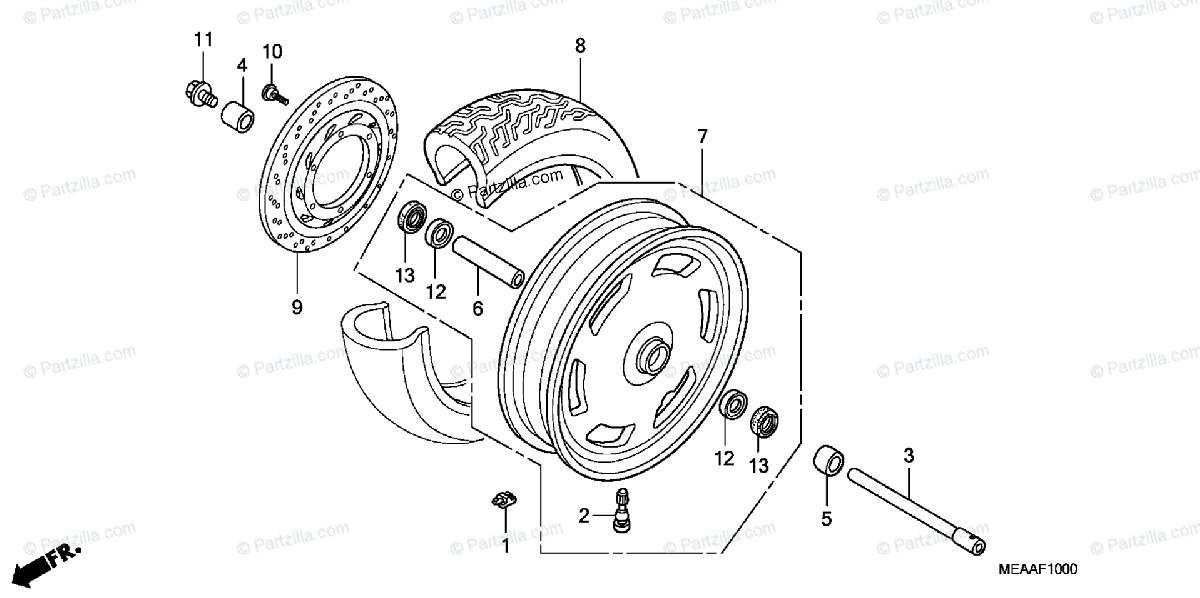 Honda Motorcycle 2009 OEM Parts Diagram for Front Wheel