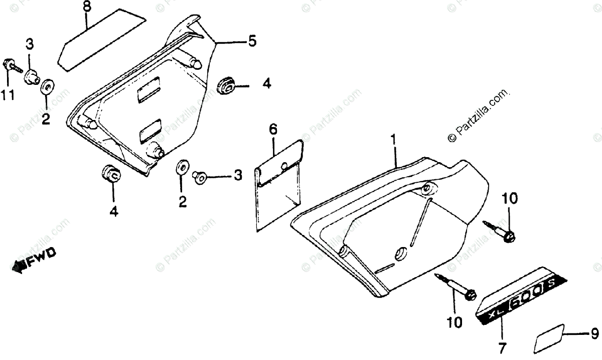 Honda Motorcycle 1981 OEM Parts Diagram for Side Cover