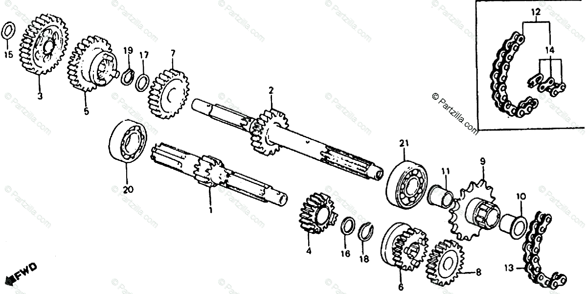 Honda ATV 1980 OEM Parts Diagram for Transmission