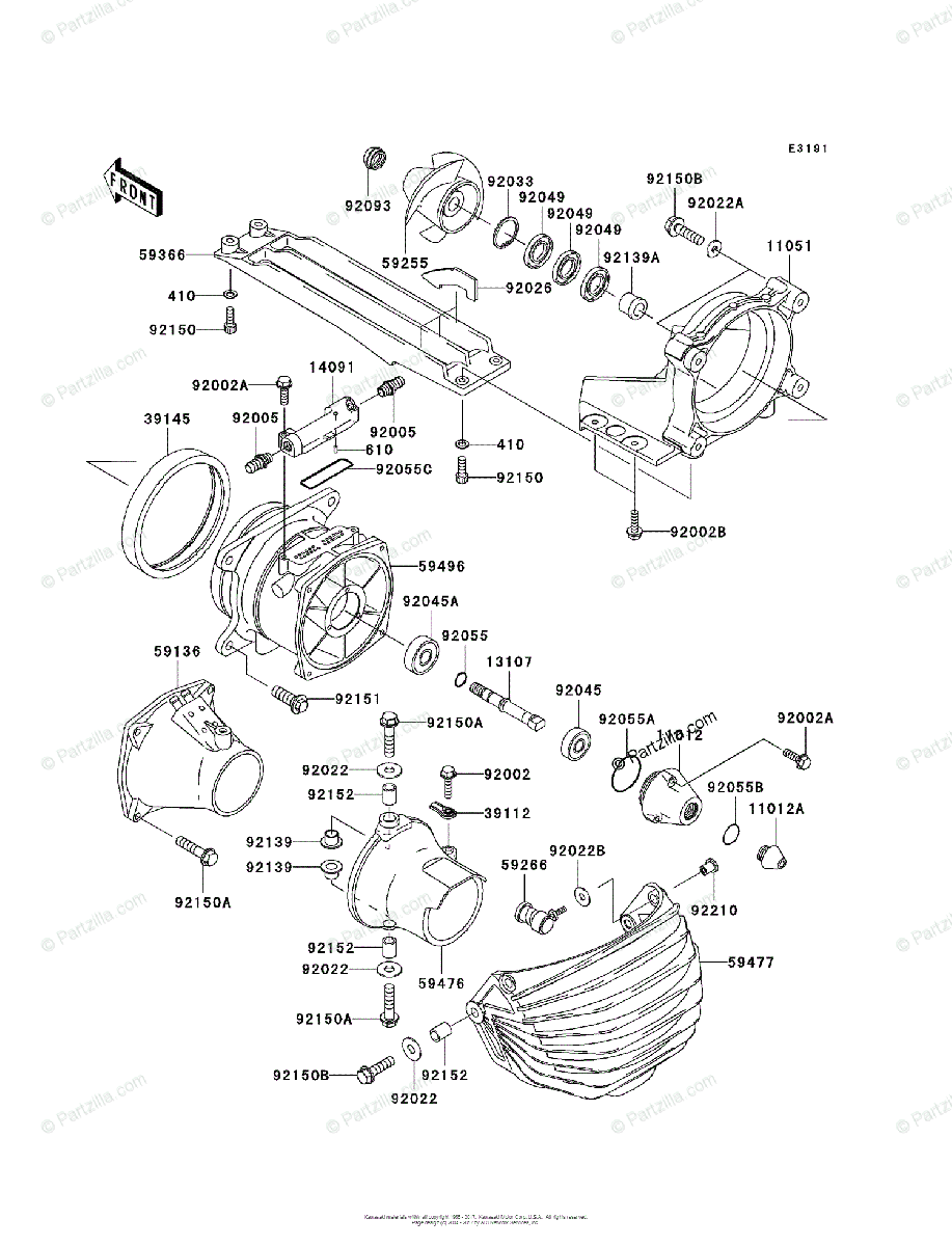 Kawasaki Jet Ski 2005 OEM Parts Diagram for Jet Pump