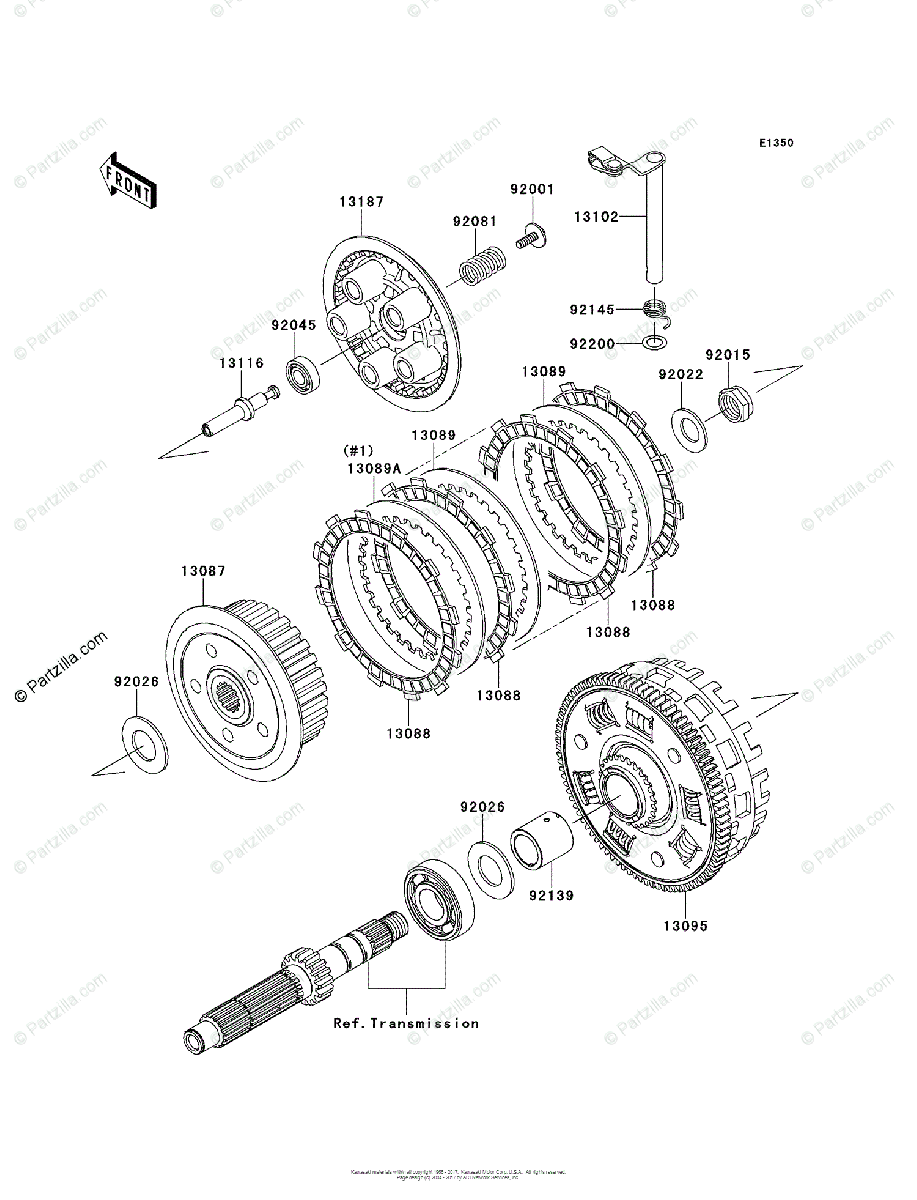 Kawasaki Motorcycle 2007 OEM Parts Diagram for Clutch