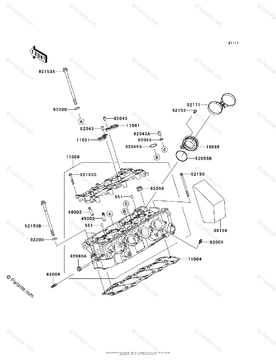 Kawasaki Motorcycle 2005 OEM Parts Diagram for Cylinder