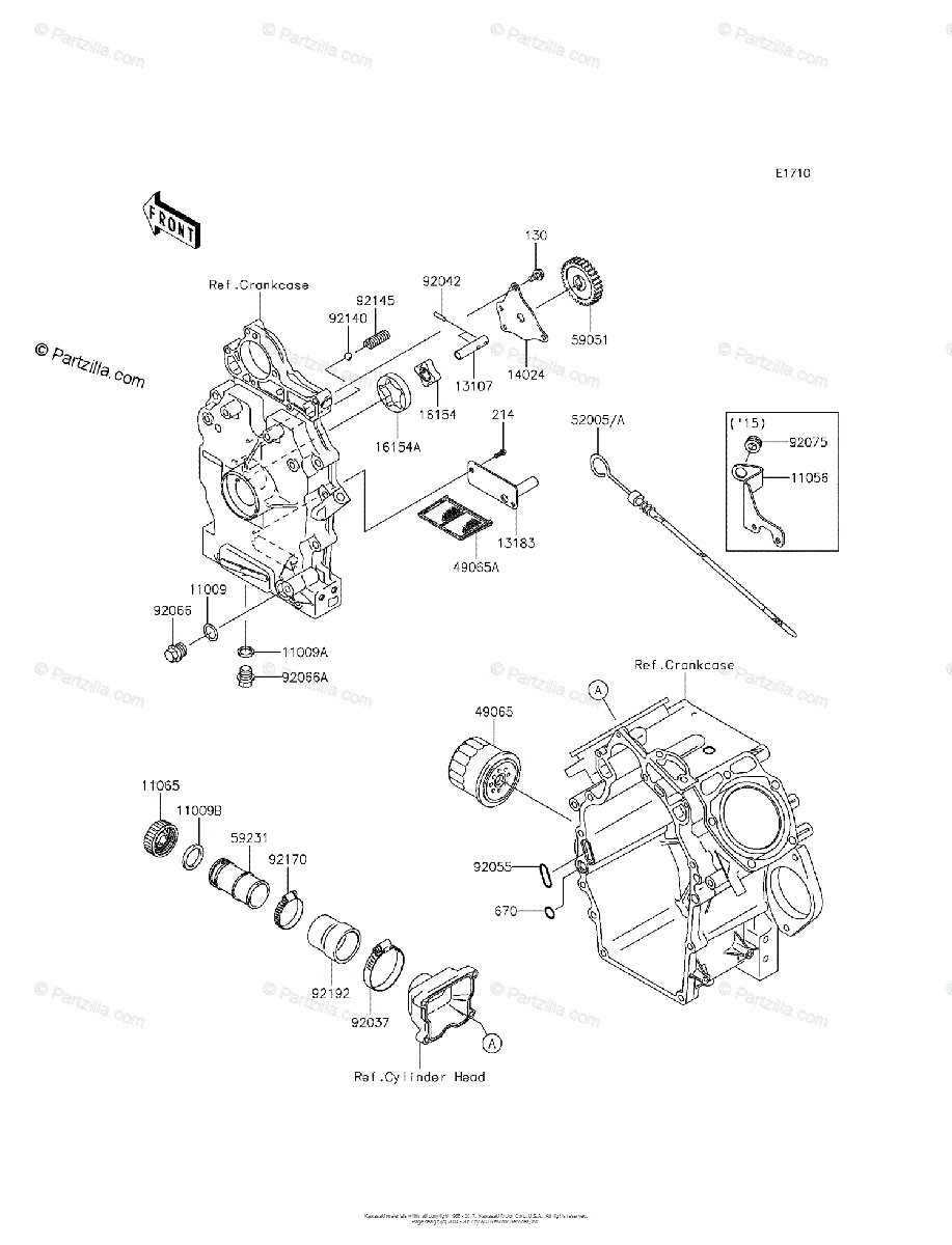 Kawasaki Side by Side 2014 OEM Parts Diagram for Oil Pump