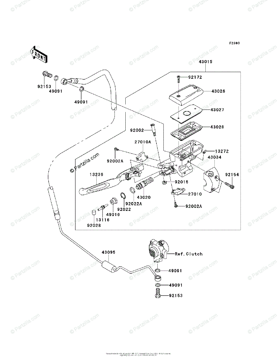 Kawasaki Motorcycle 2011 OEM Parts Diagram for Clutch