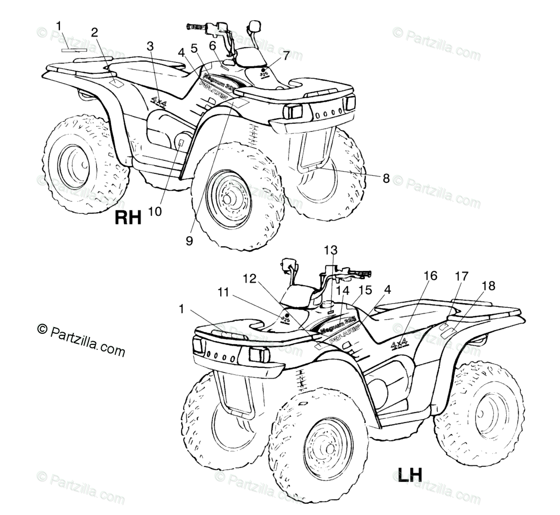 Polaris ATV 2000 OEM Parts Diagram for Decals A00cd32aa